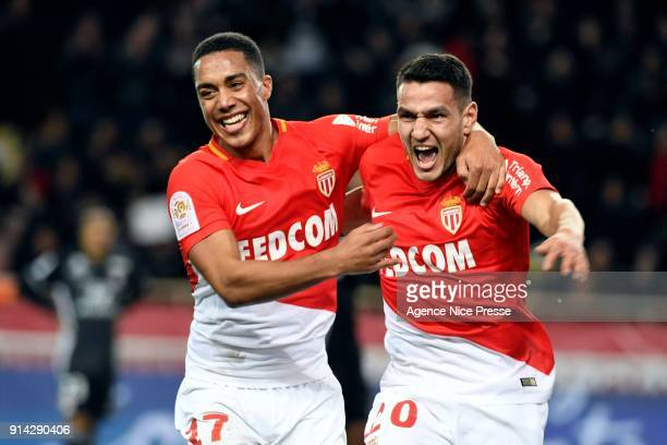 Rony Lopes of Monaco celebrates his goal with Youri Tielemans during the Ligue 1 match between AS Monaco and Lyon at Stade Louis II on February 4...