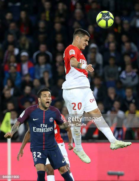 Rony Lopes of Monaco Dani Alves aka Daniel Alves of PSG during the Ligue 1 match between Paris Saint Germain and AS Monaco at Parc des Princes...