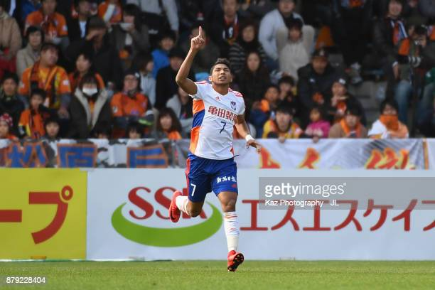 Rony of Albirex Niigata celebrates scoring his side's first goal during the JLeague J1 match between Shimizu SPulse and Albirex Niigata at IAI...