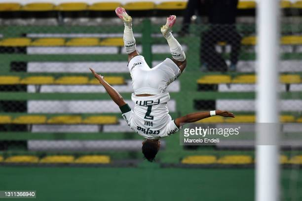Rony of Palmeiras celebrates after scoring the first goal of his team during match between Defensa y Justicia and Palmeiras as part of the first leg...
