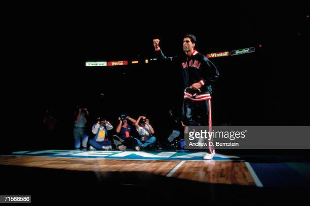 Rony Seikaly of the Miami Heat is introduced to the crowd during the team's first ever home game against the Los Angeles Clippers played November 5...
