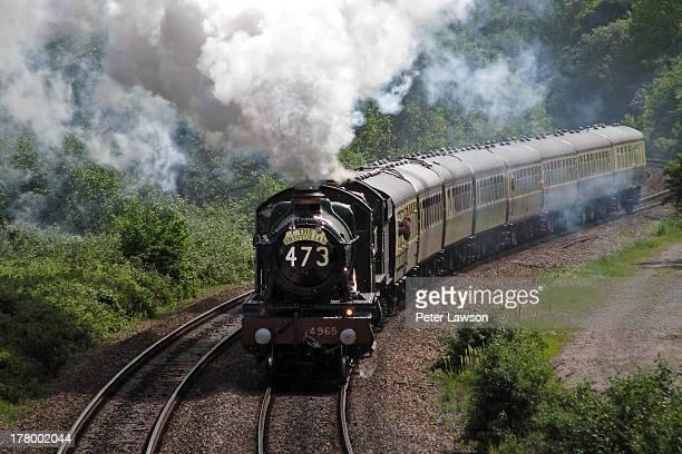 Rood Ashton Hall a steam locomotive of the Great Western Railway pulls The Bristolian charter train up Filton Bank in Bristol