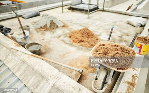 roof construction in process - foundation make up stock pictures, royalty-free photos & images