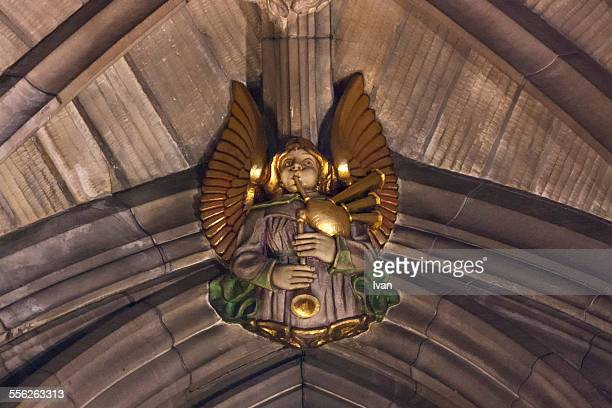 roof decoration st.giles cathedral bagpipes angle - st. giles cathedral stock pictures, royalty-free photos & images