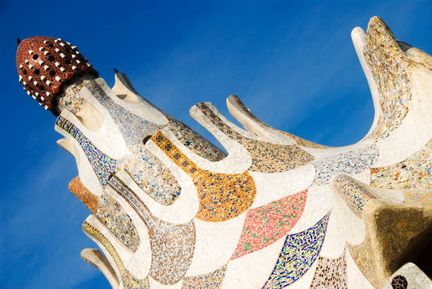 Roof detail of one of the two pavillons at the entrance to the Park Guell.
