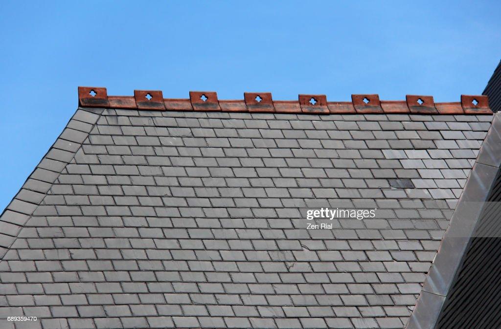 Roof detail of Trinity Episcopal Church in Buffalo, New York : Stock Photo