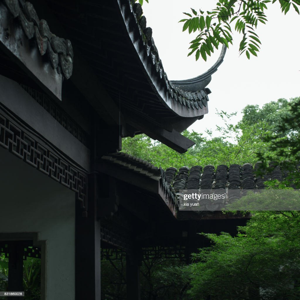 roof details of ancient chinese pavilion in public park hangzhou