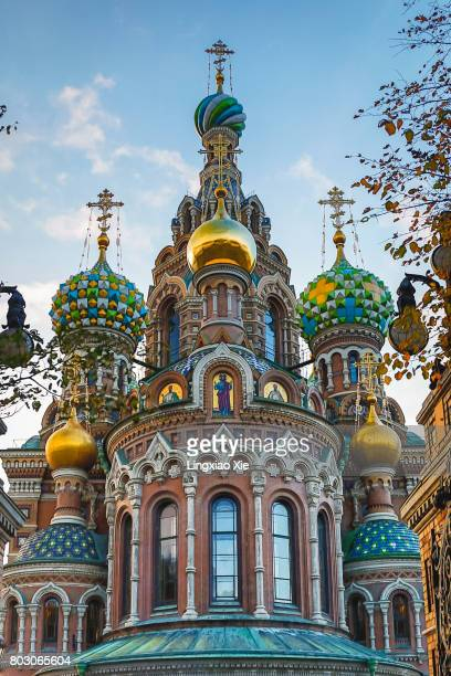 roof details of church of the savior on spilled blood, st. petersburg - cathedral stock pictures, royalty-free photos & images