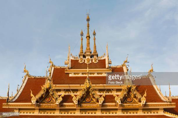 Roof, holy bot of Wat Pa Saeng Arun, south side, decorated roof, Khon Kaen, Isan, Thailand