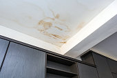 Roof leakage, water dameged ceiling roof and stain on ceiling