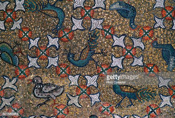 Roof mosaic of peacocks and other birds, in the Archbishop's Chapel in Ravenna, 6th century.