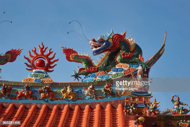 roof of a chinese temple, detail - old manila stock pictures, royalty-free photos & images