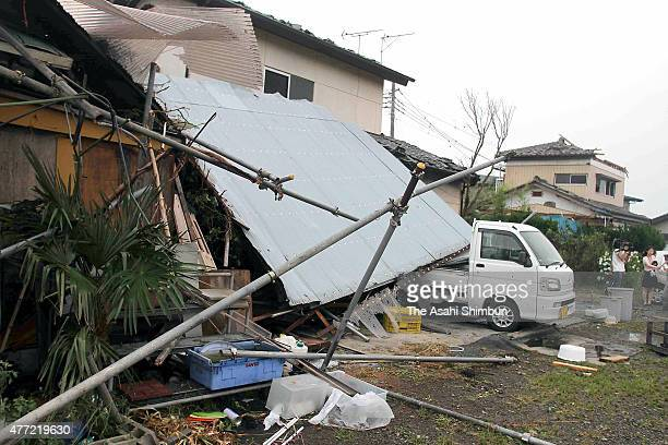 Roof of a house is blown off by a strong winds on June 15, 2015 in Isesaki, Gunma, Japan. The blustery winds overturned cars and two injured, caused...