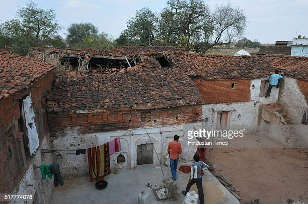 Roof of a Kachcha house that was damaged due to hailstorm at Harpura village on March 17 2016 in Tikamgarh district India The already serious...