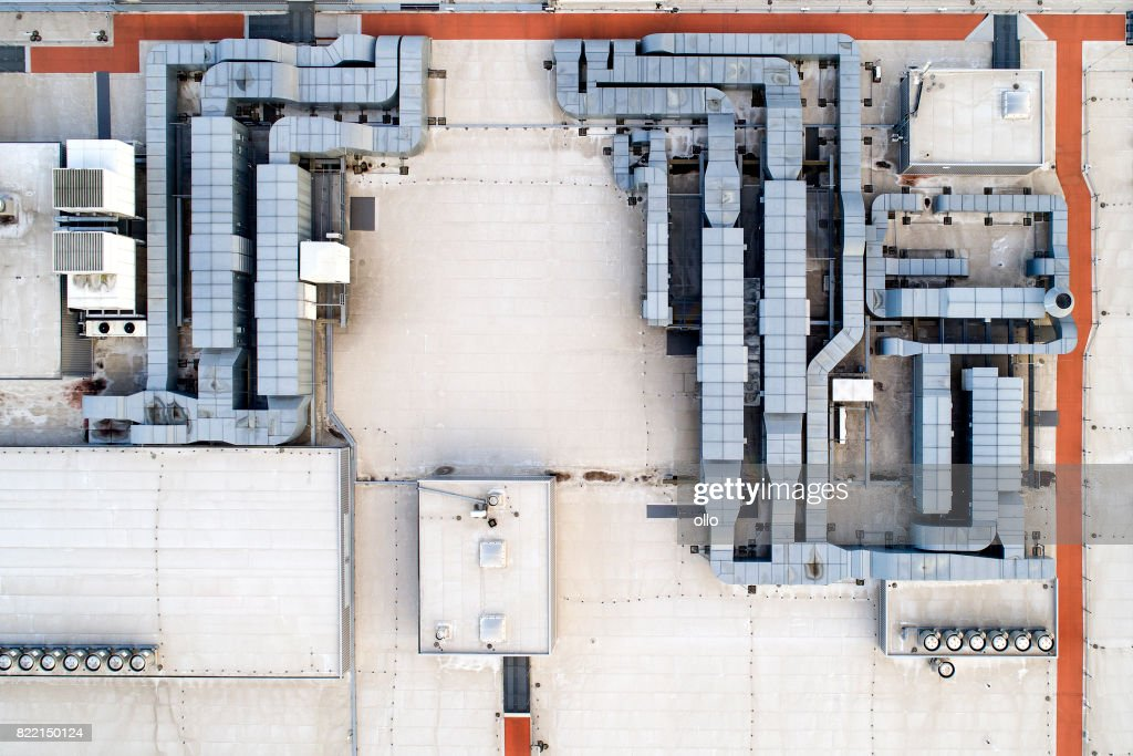 Roof of a large shopping center : Stock Photo