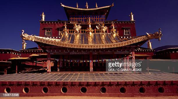 Roof of Ganden Sumtseling Gompa Monastery in Zhongdian , Yunnan, China.