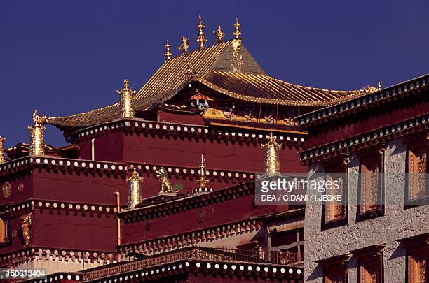 Roof of Ganden Sumtseling Gompa Monastery in Zhongdian Yunnan China