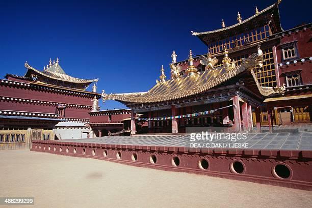 Roof of Ganden Sumtsenling Monastery , Zhongdian , Yunnan Province, China.