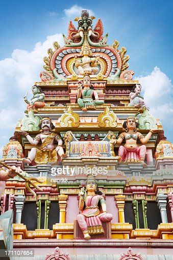 roof of hindu temple in mauritius stock photo