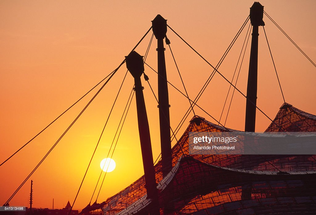 Roof of Olympic Stadium in Munich at Sunset : Stock Photo