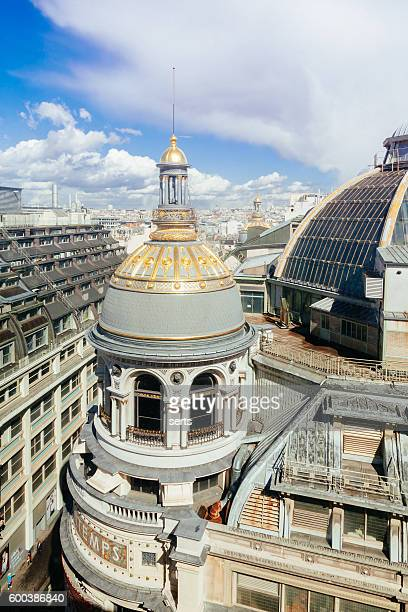 roof of the galerie printemps in paris - galeries lafayette paris stock photos and pictures