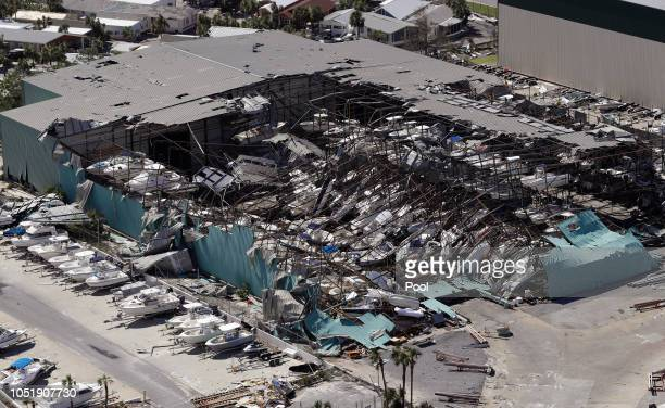 A roof over a boat storage building is collapsed following Hurricane Michael on October 11 in Panama City Beach Florida Hurricane Michael made...