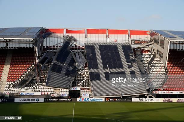 Roof stadium of AZ Alkmaar collapsed during the Roof stadium of AZ Alkmaar collapsed at the AFAS Stadium on August 10, 2019 in Alkmaar Netherlands
