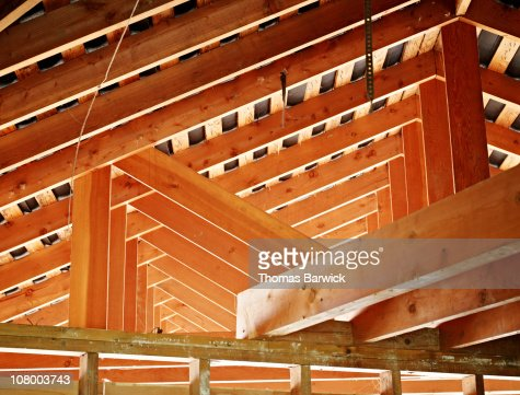 Roof Support Beams In Home Under Construction Stock Photo