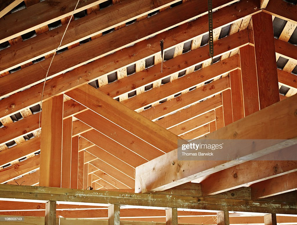 Superb Roof Support Beams In Home Under Construction