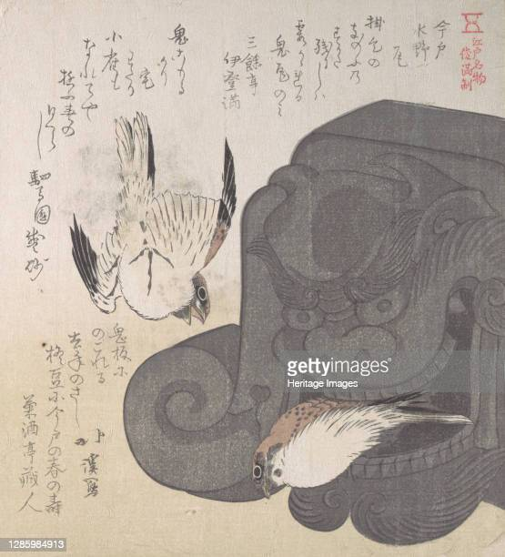 Roof Tile and Sparrows; Specialities of Mizuno in Imado, 19th century. Artist Totoya Hokkei.