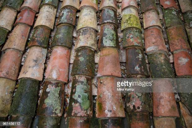 Roof tiles at Fontfroide Abbey near Narbonne France Fontfroide Abbey is a former Cistercian monastery in France situated 15 kilometers southwest of...