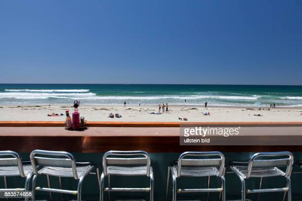 Roof top seating at 'Woodys breakfast burgers' at the board walk of Pacific Beach