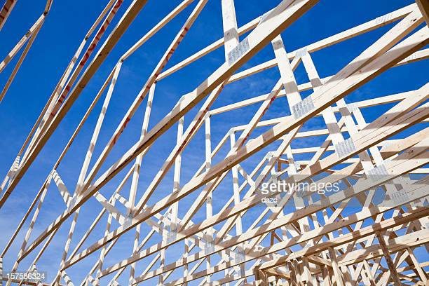 roof trusses of new construction framed home