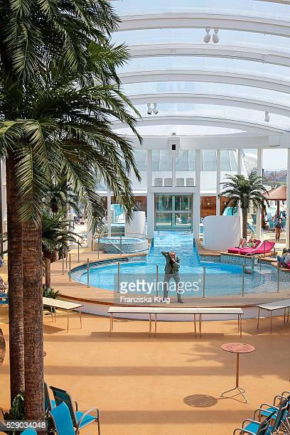 Roofed deck at the AIDAprima Cruise Ship Baptism on May 7 2016 in Hamburg Germany