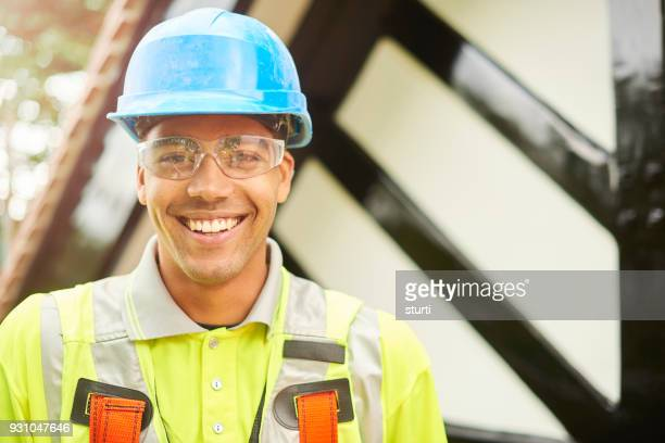 roofer portrait - safety equipment stock pictures, royalty-free photos & images