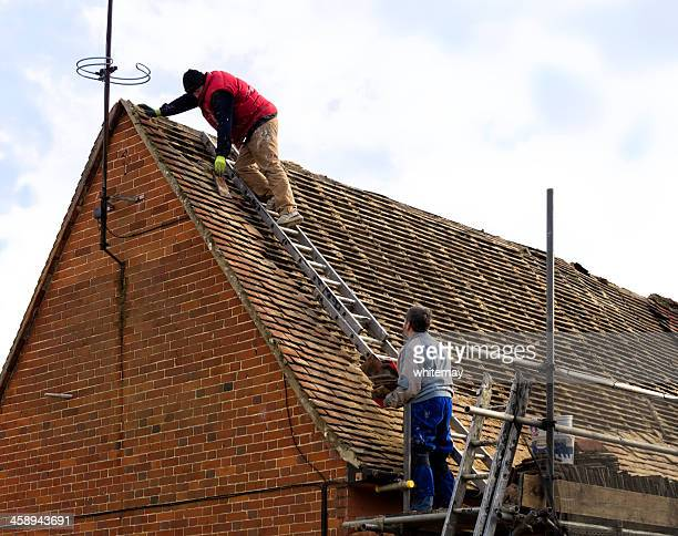 roofers at work - suffolk england stock photos and pictures