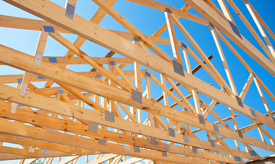 Roofing Construction. Roof Trusses of New Home Building Construction. 534134000
