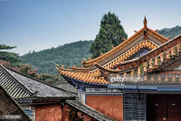 roofs and distant mountains - palace stock pictures, royalty-free photos & images