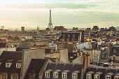 Roofs of Paris and Eiffel Tower on horizon (Paris, France)