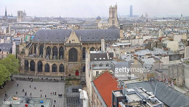 roofs of paris from pompidou center - centre pompidou stock pictures, royalty-free photos & images