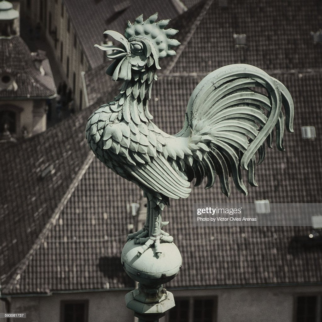 Roofs of prague (Rooster on a church tower) : Foto de stock