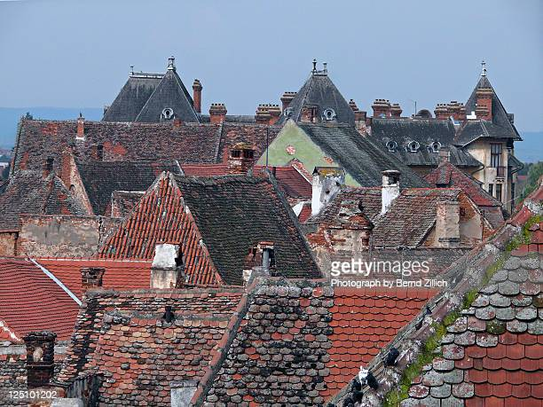 roofs of sibiu - siebenbürgen stock photos and pictures