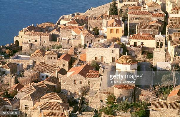 Roofs of the traditional houses of Monemvasia Peloponnese Greece