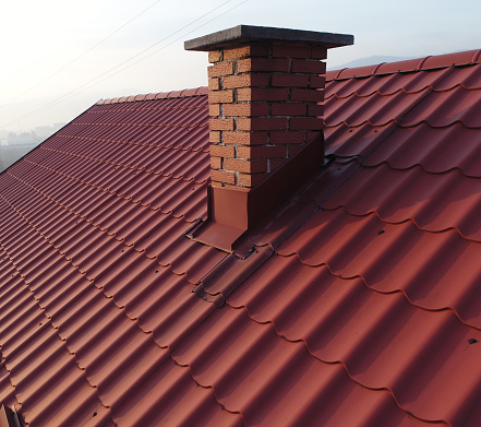 Roofs with chimney aerial view - gettyimageskorea