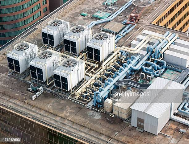 rooftop air system, skyscraper, hong kong (xxxl) - hvac stock photos and pictures