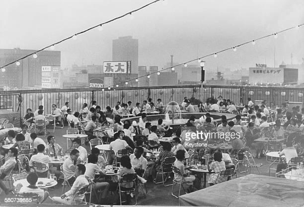 Rooftop beer garden in Tokyo, Japan, July 1973.