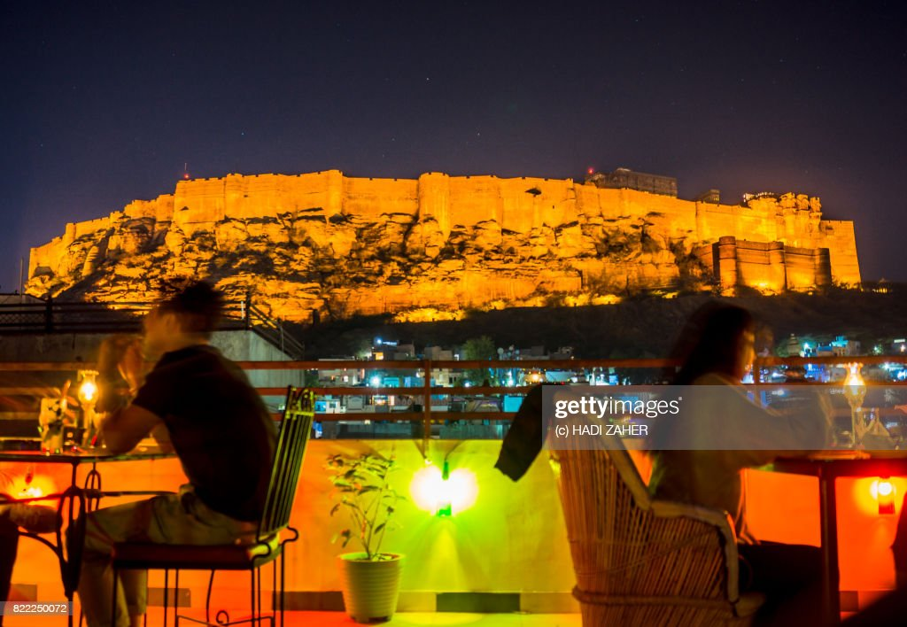 Rooftop cafe and Mehrangarh Fort at night | Jodhpur | Rajasthan | India : Stock Photo