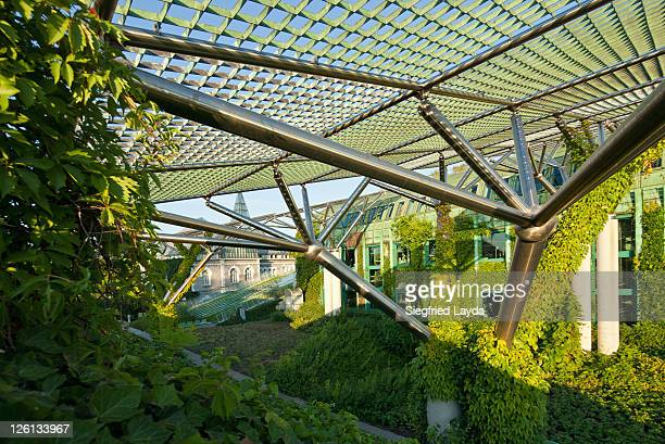rooftop garden of university library - warsaw stock pictures, royalty-free photos & images