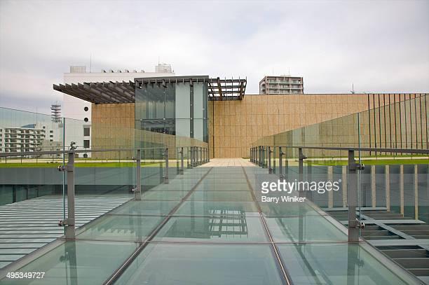 Rooftop glass path between buildings