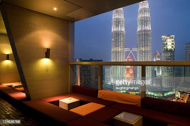 rooftop hotel restaurant night view city